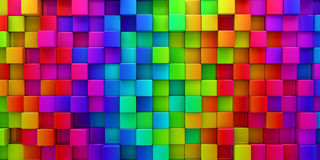 Rainbow of colorful blocks abstract background. 3d render Stock Images