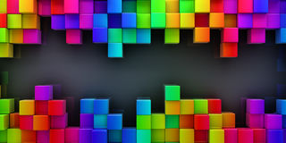 Rainbow of colorful blocks abstract background. 3d render Stock Image