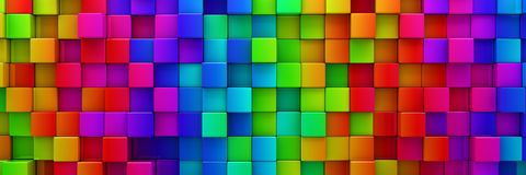 Rainbow of colorful blocks background - 3d render royalty free illustration