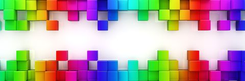 Rainbow of colorful blocks abstract background. 3d render Royalty Free Stock Image