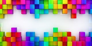 Rainbow of colorful blocks background - 3d render Royalty Free Stock Images