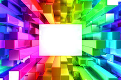 Rainbow of colorful blocks Stock Images