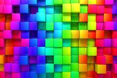 Rainbow of colorful boxes. 3D render Stock Photos