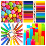 Rainbow colorful candies, pencils, plastic straws collage Stock Images