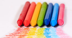 Rainbow colorful crayon color for children Stock Photos