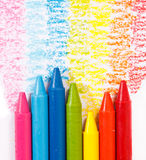 Rainbow colorful crayon color for children Royalty Free Stock Photography