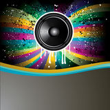 Rainbow Colorful Discotheque Event Flyer. Rainbow Colorful Discotheque background with speaker Stock Images