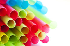 Rainbow colorful drinking straws Stock Photo