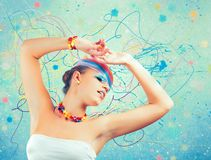 Rainbow colorful fashion makeup Stock Photography