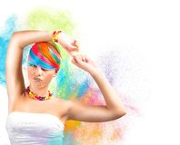 Rainbow colorful fashion makeup Stock Photo