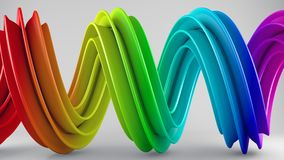 Rainbow colorful gradient twisted spiral shape 3D rendering. Rainbow colorful gradient twisted spiral shape. Computer designed abstract geometric 3D rendering Stock Photos