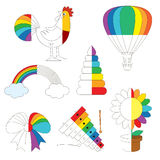 Rainbow Colorful Images, the big kid game to be colored by example half. Rainbow Colorful Pictures, the big collection coloring book to educate preschool kids royalty free illustration
