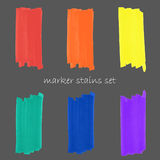 Rainbow colorful marker strokes set Stock Image