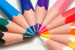 Rainbow of colorful pencil set Royalty Free Stock Photography