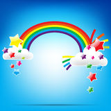 Rainbow and colorful star Stock Image