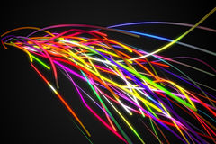 Rainbow Colorful Strands Line Glow Dark Background Royalty Free Stock Images