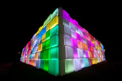 Rainbow colorful on triangle wall . Stock Photo