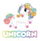 Rainbow colorful Unicorn hair with stars looking to the back with pink feet royalty free illustration