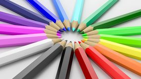 Colorful Pencils Arranged in Circle. Rainbow of Colorful Wooden Pencils Arranged in Circle on White Background 3D Illustration royalty free illustration