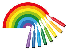 Rainbow Coloring Picture Markers Stock Photos
