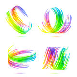 Rainbow colors abstract backgrounds set. Rainbow colors abstract techno backgrounds vector set Stock Images