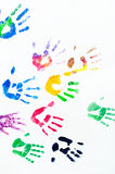 Rainbow colors arms prints. Rainbow colors arm prints abstract on white background Royalty Free Stock Image