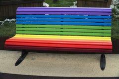Rainbow Colors On A Bench Stock Photos