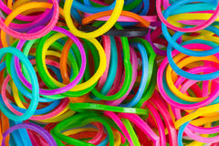 Rainbow Colors. Blue Loom Refills Silicon Elastic Rubber Bands Stock Images