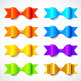 Rainbow colors bright vector paper bows set Stock Photo