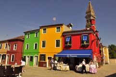 Rainbow of colors in Burano Stock Photos