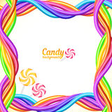 Rainbow colors candy ropes vector background Stock Photo