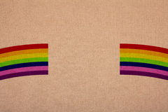 Rainbow colors on canvas, retail at a magnification.  stock images