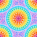 Rainbow colors concentric circles in dot art style vector seamless pattern Royalty Free Stock Photo