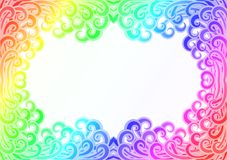 Rainbow wave flames frame border Stock Images