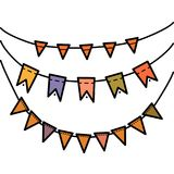 Rainbow colors flat style holiday flags garlands set on white background. Rainbow colors flat style vector holiday flags garlands set on white background Royalty Free Stock Image