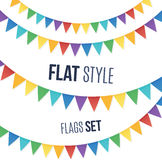 Rainbow colors flat style holiday flags garlands Royalty Free Stock Photos