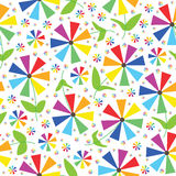 Rainbow Colors Flowers Seamless Pattern_eps. Illustration of design rainbow colors flowers seamless pattern on white background. --- This .eps file info Version stock illustration