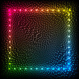 Rainbow colors glowing dots abstract frame. Rainbow colors vector glowing dots abstract frame Stock Image