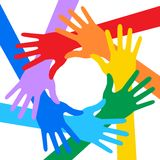 Rainbow Colors Hands Icon. Vector illustration for your design Stock Image