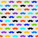Rainbow Moustaches Polka Dots Seamless Background. Rainbow colors hipster moustaches with a white background and grey polka dots. Seamless pattern background Royalty Free Stock Photos