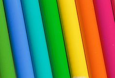 A Rainbow of colors made by pencils. A Colorful Rainbow of colors made by pencils Royalty Free Stock Images
