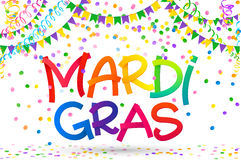 Rainbow colors Mardi Gras sign on colorful confetti, carnival flags and serpentine on white background. Rainbow colors vector Mardi Gras sign on colorful Royalty Free Stock Photography