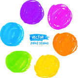 Rainbow colors marker stains vector set Stock Photography