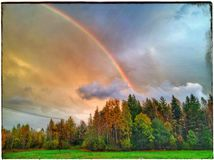 Rainbow. Colors of Nature After Rain Stunning Stock Image
