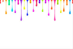 Rainbow colors oil paint glossy drops  on white.  Royalty Free Stock Photos