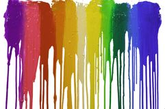 Colorful of plastisol ink dripping on white background. Rainbow colors of paint dripping with clipping path Stock Photo