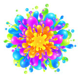 Rainbow colors paint splash on white background Stock Photos