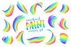 Rainbow colors painted brushstrokes vector set. Isolated on white background Royalty Free Stock Image