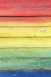 Rainbow Colors Painted on Weathered Wood Stock Photography