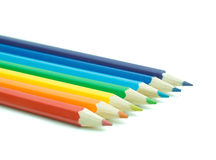 Rainbow colors in pencils. Colour pencils isolated on a white background Stock Photography